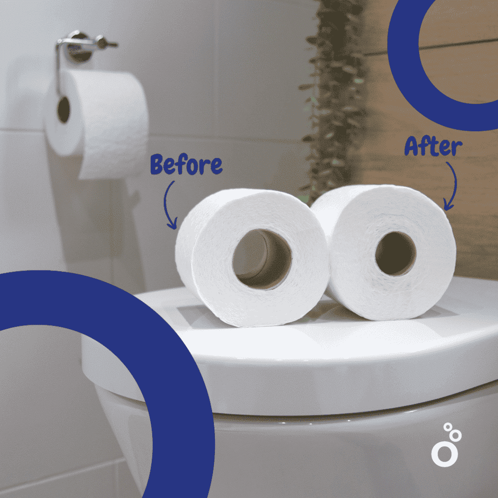 A smaller tube means more sheets per roll!