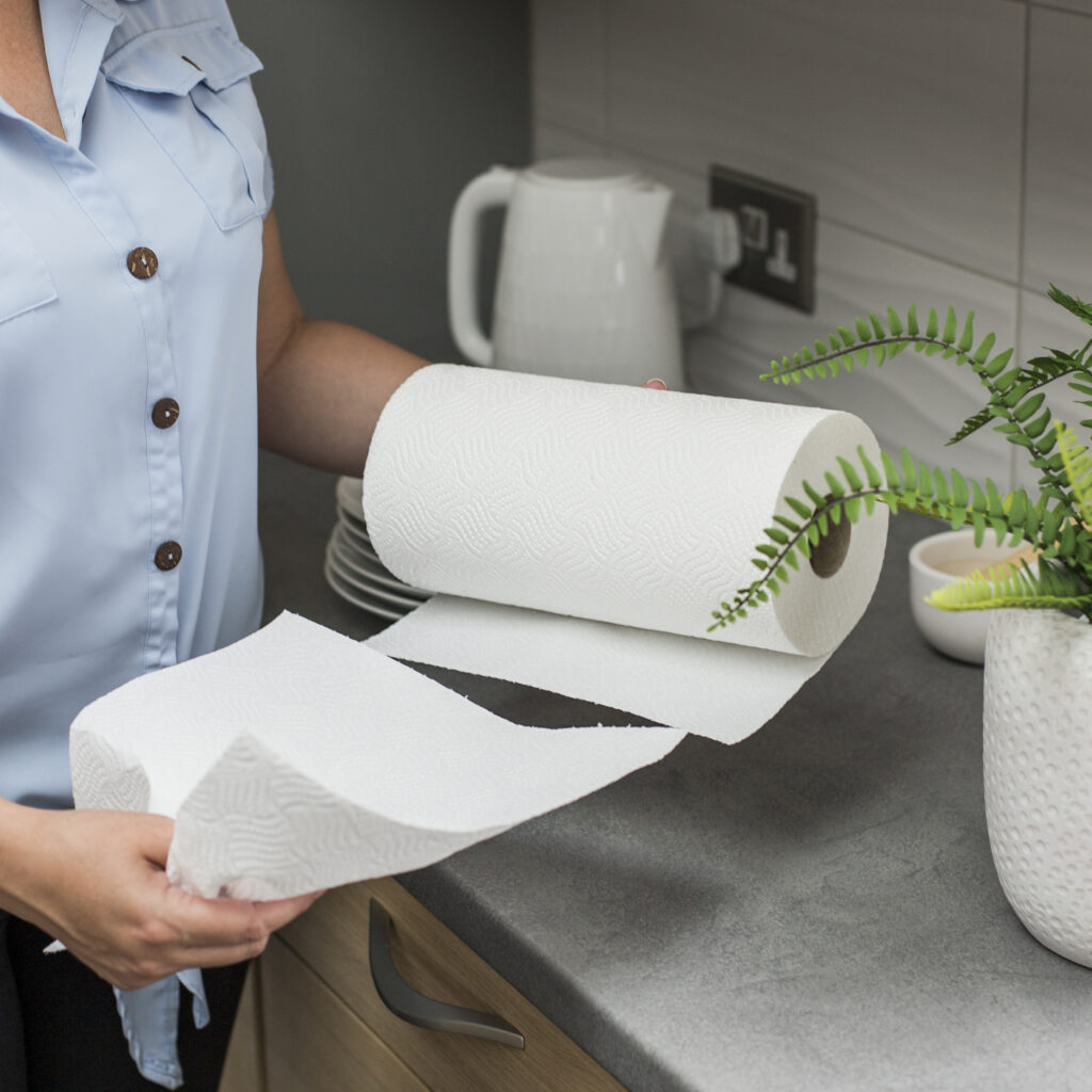 Oceans kitchen towel in use