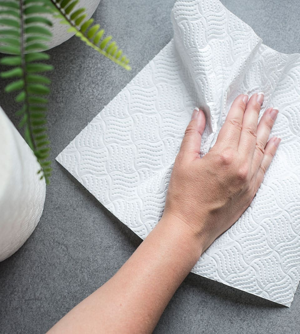 Oceans eco-friendly kitchen towel being used in a kitchen