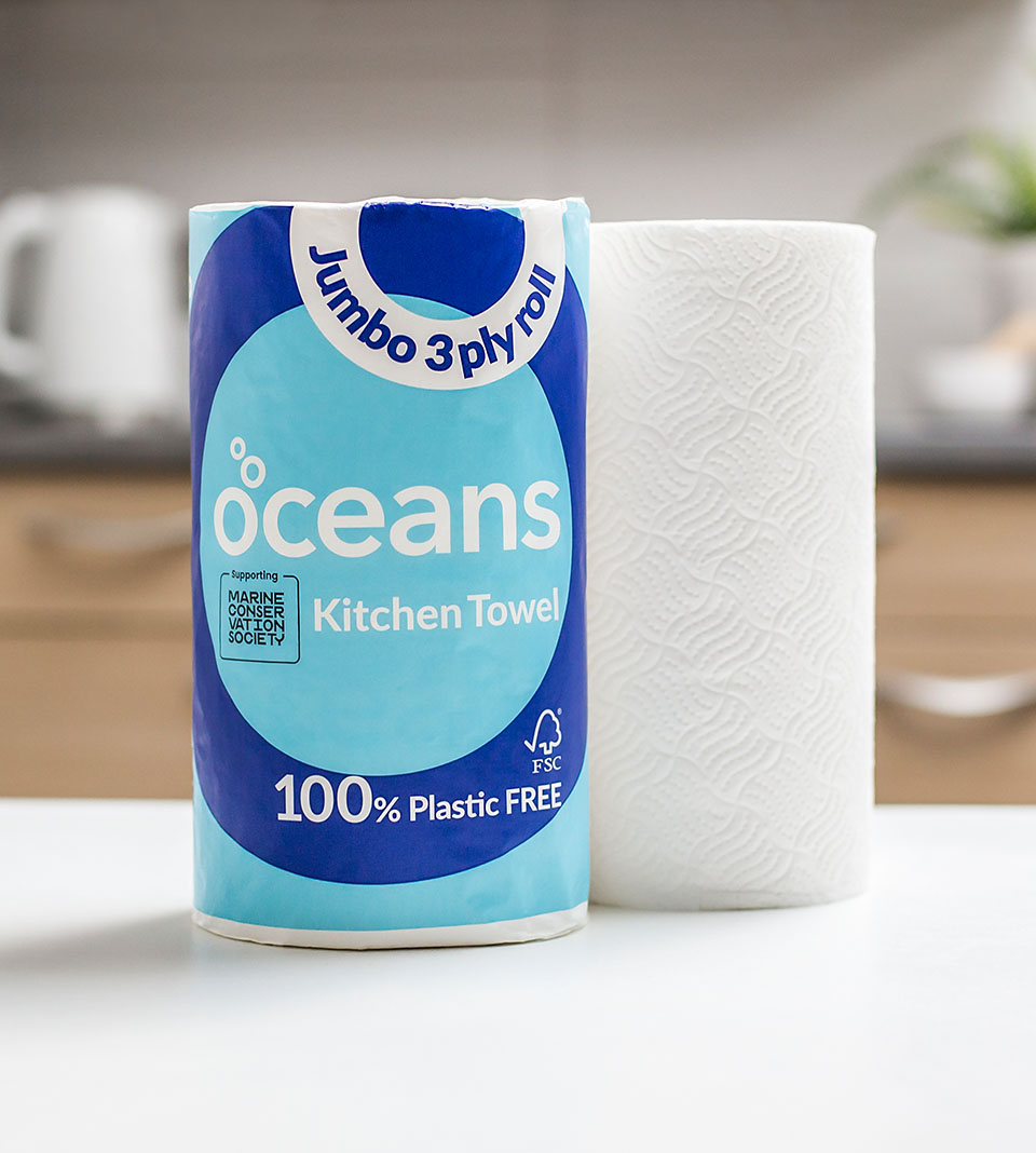Ocean's eco-friendly kitchen towels on display in a kitchen